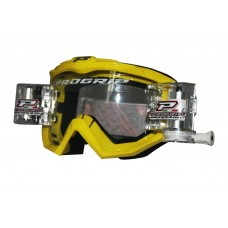 Progrip 3201 Race Line Motocross Goggles with RnR-XL Roll Off System Yellow