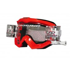 Progrip 3201 Race Line Motocross Goggles with RnR-XL Roll Off System Red