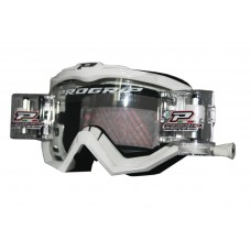 Progrip 3201 Race Line Motocross Goggles with RnR-XL Roll Off System White