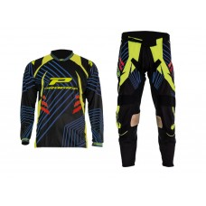 Progrip 6010-7010-17 Adult Motocross Pants + Shirt Black- Yellow