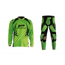 Progrip 6010-7010-17 Adult Motocross Pants + Shirt Green- Black