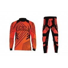 Progrip 6010-7010-17 Adult Motocross Pants + Shirt Fluorescent Orange