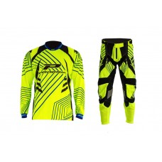 Progrip 6010-7010-17 Adult Motocross Pants + Shirt Fluorescent Yellow
