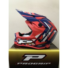 Progrip 3009 Youth ABS Motocross Helmet Orange-Blue Small