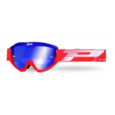 Progrip 3450 Riot Multilayered Mirrored Lens Motocross Goggles Blue-Red Frame