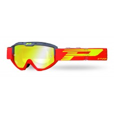 Progrip 3450 Riot Multilayered Mirrored Lens Motocross Goggles Grey-Red Frame