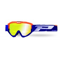 Progrip 3450 Riot Multilayered Mirrored Lens Motocross Goggles Flo Orange-Blue Frame