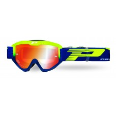 Progrip 3450 Riot Multilayered Mirrored Lens Motocross Goggles  Flo Yellow-Navy Blue Frame