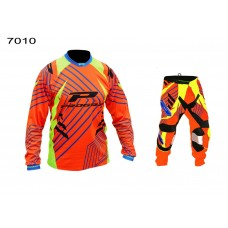 Progrip 6010-7010-16 Adult Motocross Pants + Shirt Orange- Yellow