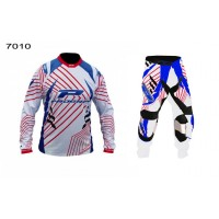 Progrip 6010-7010-16 Adult Motocross Pants + Shirt Red-White-Blue
